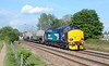 """37423 storms passed the site of Stoke Canon signal Box working 6Z40 09:39 Crewe CLS ~ Devonport Royal Dockyard """"coal"""" train"""