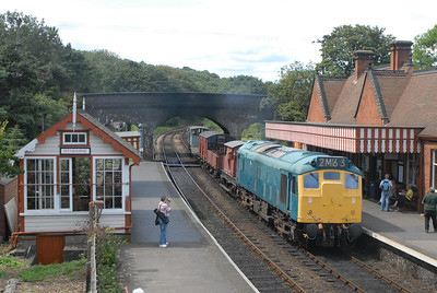 The NNR is a gem of a line, during the summer weekends they regularly run their diesel fleet on the last two passenger trains of the day. On certain sundays during the summer they run an additional demonstration goods. On 14-08-11 25057 was in charge of the good train and is seen passing Weybourne on 1225 Holt - Sherringham