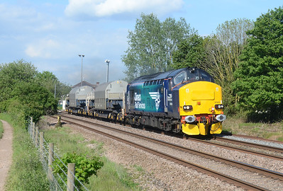 "37423 storms passed the site of Stoke Canon signal Box working 6Z40 09:39 Crewe CLS ~ Devonport Royal Dockyard ""coal"" train"