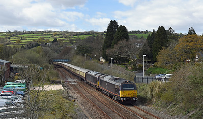 67006 + 67005 1Z83 1220 Truro ~ London Victoria up South Brent 1440, running approx 30 late owing to signalling issues in Cornwall