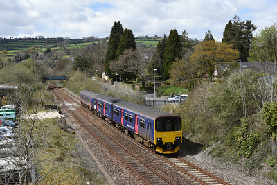 150103 + 153377 2E66 1205 Penzance to Exeter St Davids passes South Brent
