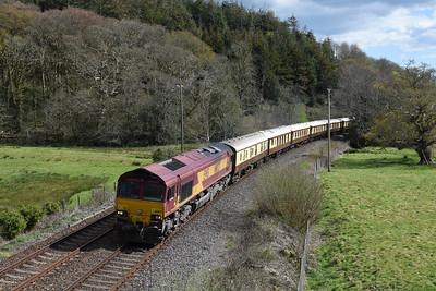 66027 T & T 67006 + 67005 5Z80 1535 St Austell to Tavistock Jn, Restormel 1545