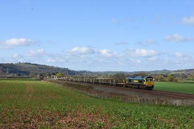66539 FLHH rail train, 6Y97 08.35 Totnes to Westbury Down T.C. arr 10.45. Cowley Bridge Jn 09.16.  Up Stoke Canon 0908